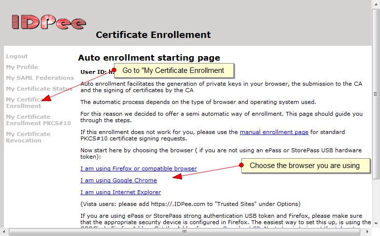 Certificate autmatic enrollment page