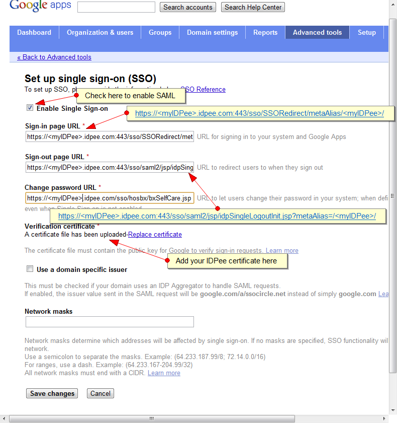 Google Apps SSO configuration screen