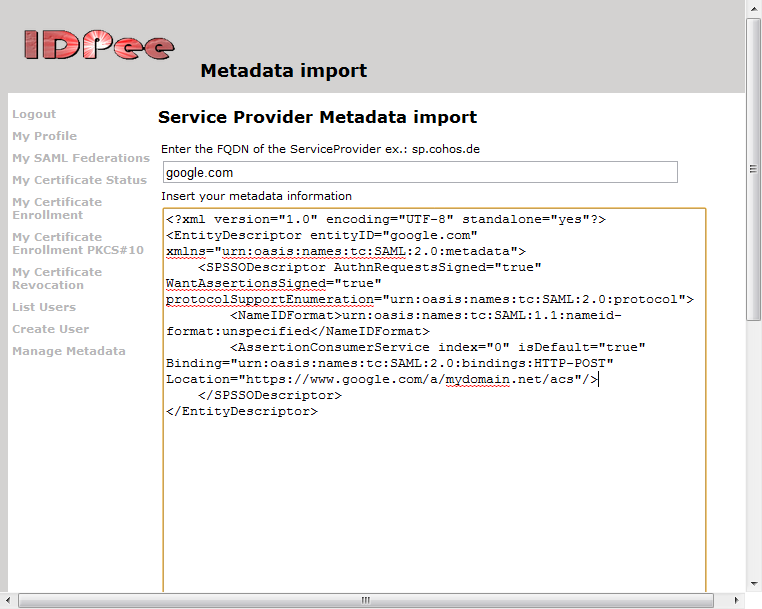 Import Google Apps meta data